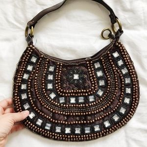 Brown Silver Beaded Jewel Embellished Purse